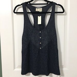 NWT Anthropologie Lucie Ribbed Racerback Tank Navy